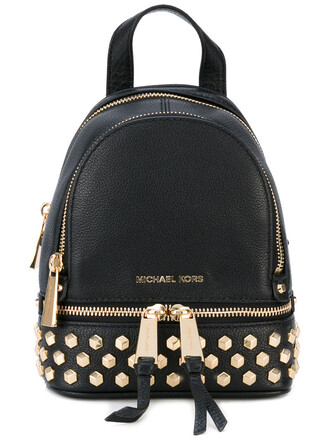 metallic women backpack leather black bag
