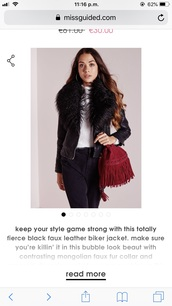 coat,fur collar,black fur,leather coat,faux fur,faux leather jacket