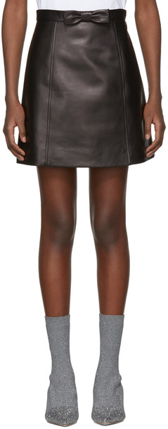 miniskirt bow leather black black leather skirt