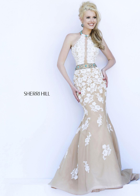 Ivory Nude Trends Sherri Hill 32227 Lace Beaded Dress [Sherri Hill ...