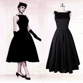 50s style audrey hepburn hepburn pin up pinup dress black dress party dress prom dress 50s dress 50s dresses dance dress