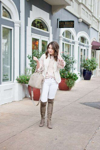 champagne&citylights blogger jeans sweater jacket bag shoes handbag boots winter outfits