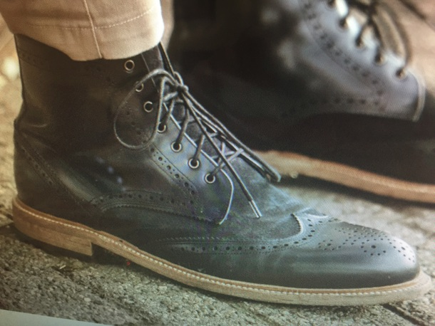 shoes wing tip boot black leather/suede marcel floruss