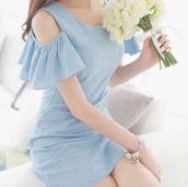dress,baby blue,frill,short dress,form fitting,baby blue dress,cut-out dress,cut out shoulder,ulzzang,ulzzang dress,ulzzang style,cute dress,form fitting midi dress,kawaii,cute,girly