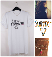 t-shirt,lion,14,cute,pretty,white t-shirt,lion t-shirt,rolled sleeves,crewneck,feathers,feather earrings,pink,summer outfits,silver,bracelets,fashion,colorful,weheartit,london style,white,jewels,stacked bracelets,jewelry