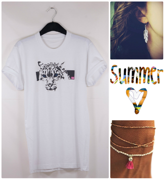 t-shirt lion 14 cute pretty white t-shirt lion t-shirt rolled sleeves crewneck feathers feather earrings pink summer outfits silver bracelets fashion colorful weheartit london style white jewels stacked bracelets jewelry