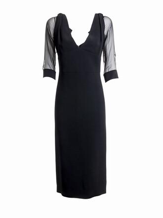 dress midi dress sheer midi black