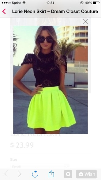 blouse lace top black lace top black skirt neon skirt skirt sunglasses