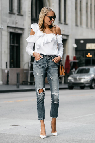 fashionjackson blogger top jeans shoes bag sunglasses jewels shoulder bag pumps high heel pumps white blouse
