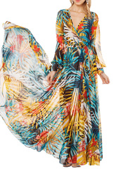 dress,maxi dress,maxi skirt,v neck dress,floral,top,skirt,clothes,fashion,tropical,palm tree print,colorful,flowers,chiffon