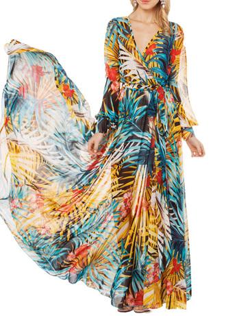 dress maxi dress maxi skirt v neck dress floral top skirt clothes fashion tropical palm tree print