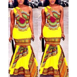 dress yellow colorful maxi dress trendy fashion style hot mermaid rose wholesale-feb