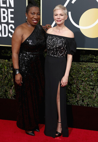 dress michelle williams off the shoulder off the shoulder dress black dress slit dress golden globes 2018 sandals red carpet dress