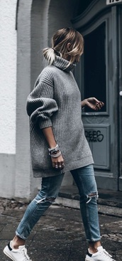 sweater,grey,gray hoodie,grey sweater,sweater weather,oversized sweater,fall sweater,details on fleek,tumblr,tumblr sweater,tumblr outfit,tumblr girl,tumblr top,tumblr fashion,tumblr style,pinterest,pinterest outfit,pinterest clothing,pinterest top,pinterest top tumblr,pinterest.com,denim,jeans,ripped jeans,skinny jeans,blue jeans,high waisted jeans,dark blue ripped jeans,blue ripped jeans,bracelets,shoes,white shoes,adidas shoes,adidas