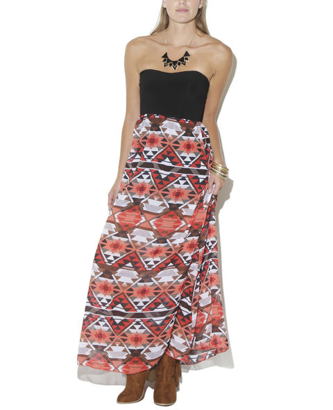 Aztec 2fer Maxi Dress - WetSeal