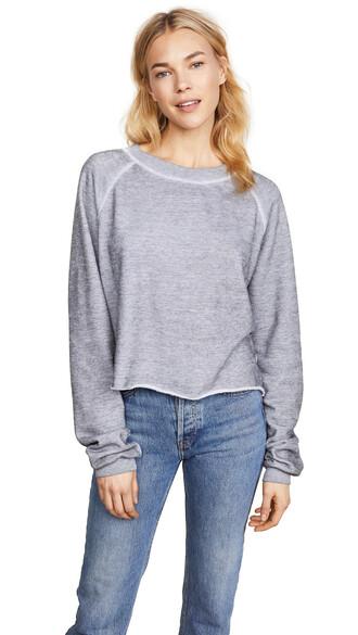 sweatshirt crop sweatshirt grey heather grey sweater