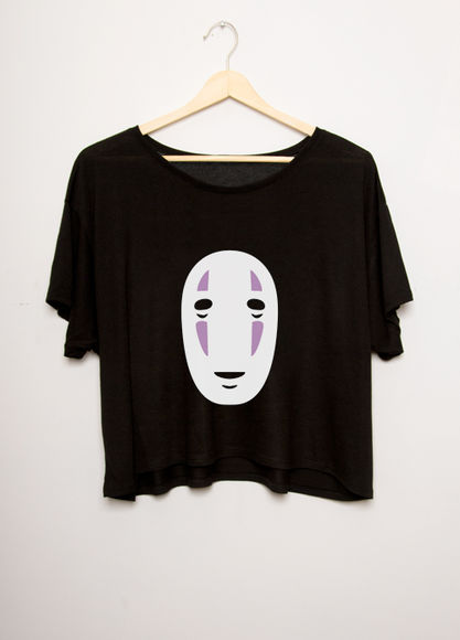 black top shirt ghibli crop tops black crop top spirited away no face studio ghibli top t-shirt miyazaki