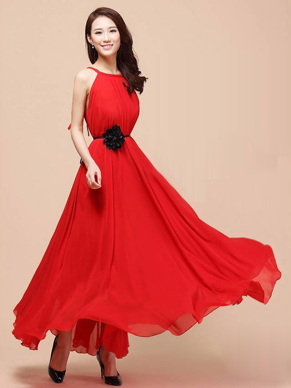 A-line Bateau Pleat Chiffon Dresses : KissChic.com