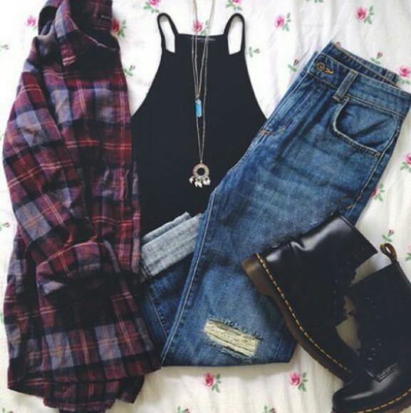 hippie hipster jeans blue jeans doc martens crop trop