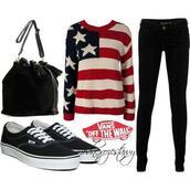 sweater,bag,black,vans,jeans,knitwear,american flag,faux cuir