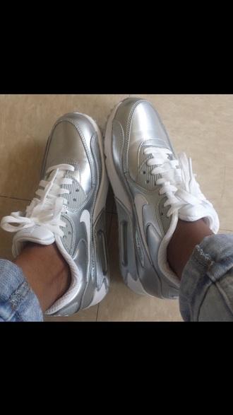 metallic metallic shoes nike running shoes running shoes athletic girly wishlist fashion nike shoes