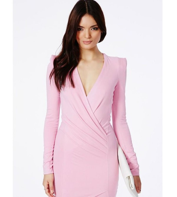 wrap dress pink pink dress bodycon dress long sleeve dress clubwear party dress mini dress fall outfits fall dress
