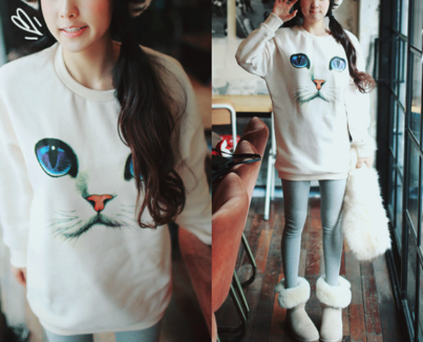 cats girl sweater