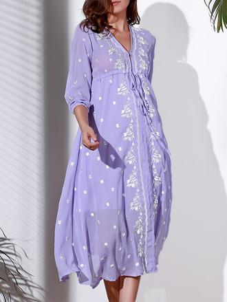 dress summer spring fashion style trendy lilac flowy long sleeves dressfo