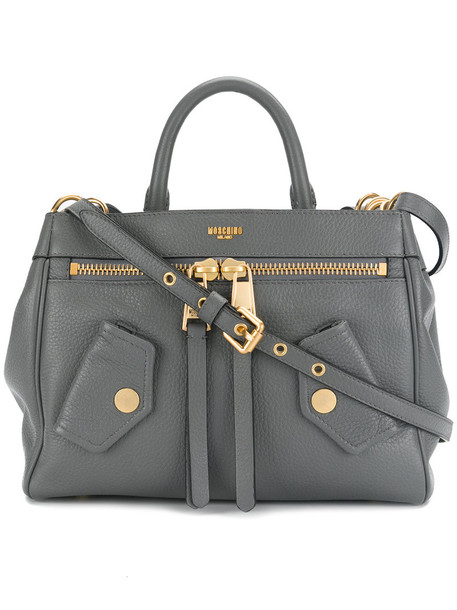 Moschino women leather grey bag