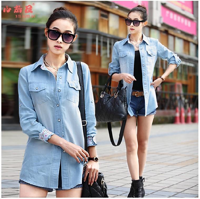 Women&39s Casual Cotton Blouses Plus Size Clothing Denim Shirts Long