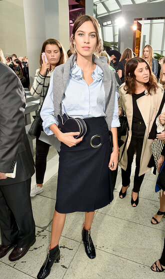 skirt midi skirt alexa chung fashion week shirt