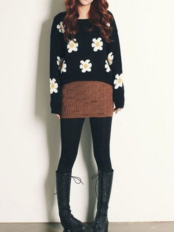 sweater pullover jumper black girl fashion daisy jumper cute outfits