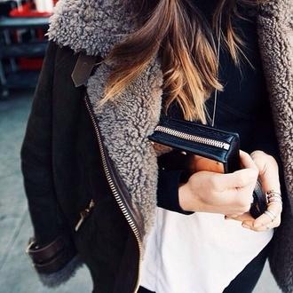 coat shearling jacket fur black jacket