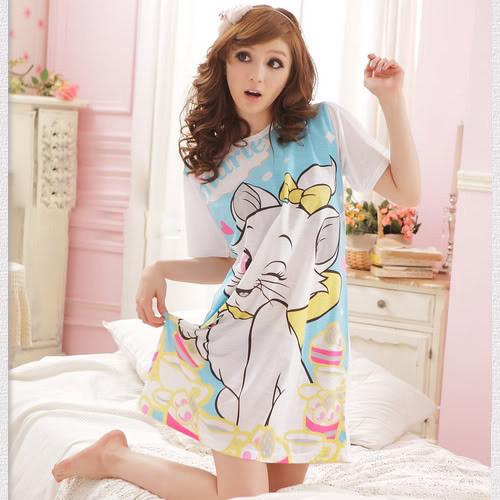 Cartoon kitten blue pajama top