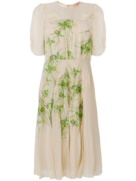 No21 dress chiffon dress chiffon women embellished nude silk