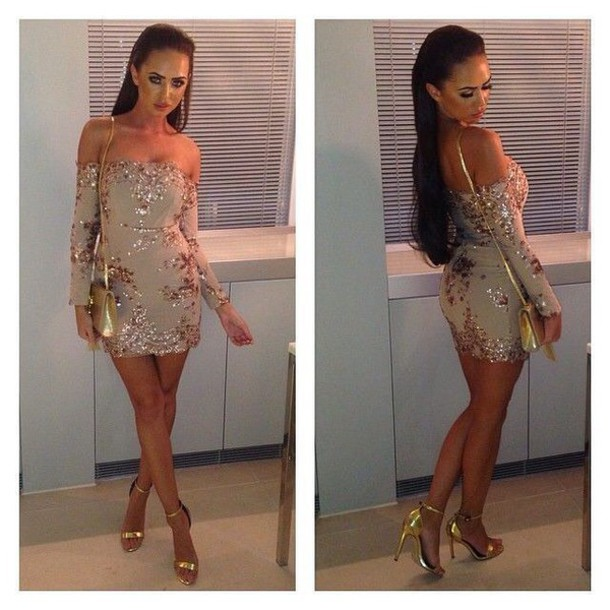 Gold Sequin Dress with Black Shoes