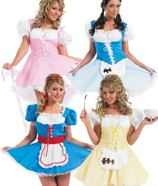 Dorothy Alice Goldilocks Bo Peep Ladies Fancy Dress Fairytale Costume   Holdups | Amazing Shoes UK
