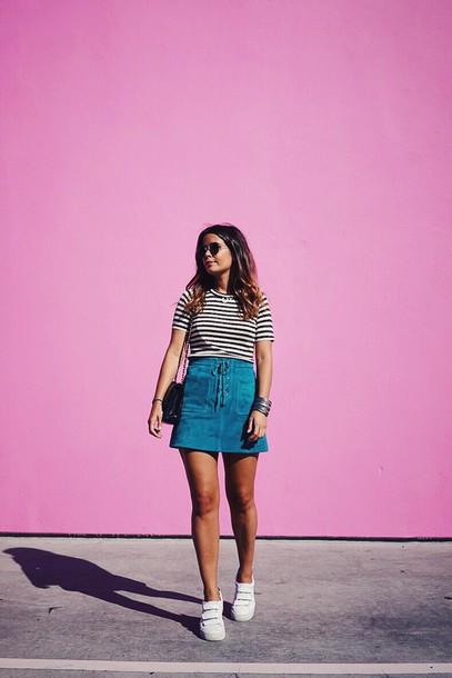 82e3cb9476767a skirt, lace up skirt, blue skirt, suede skirt, mini skirt, top ...