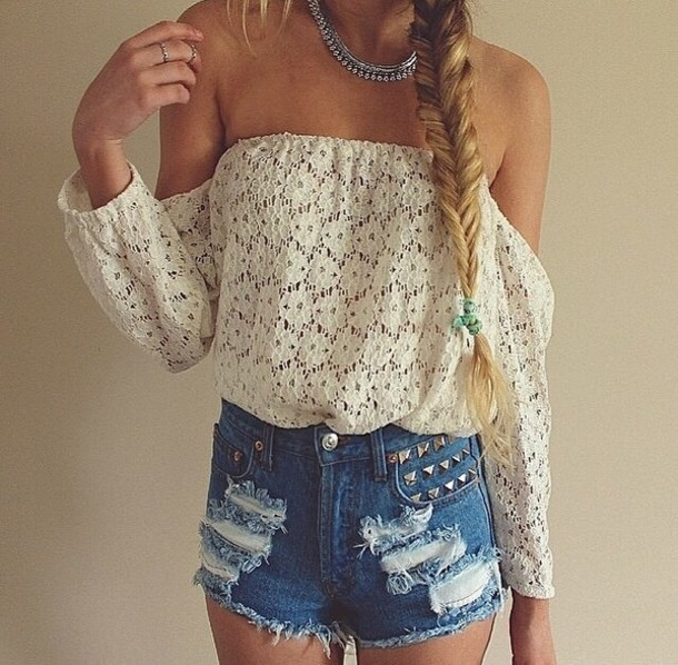 blouse no sleeve long -sleeved lace flowers shirt white off the shoulder top pants shorts white blouse