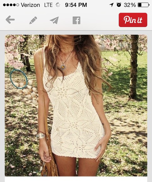 white summer dress crochet white dress
