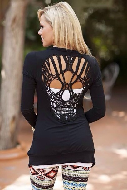 shirt long sleeves skull blouse black longsleveed