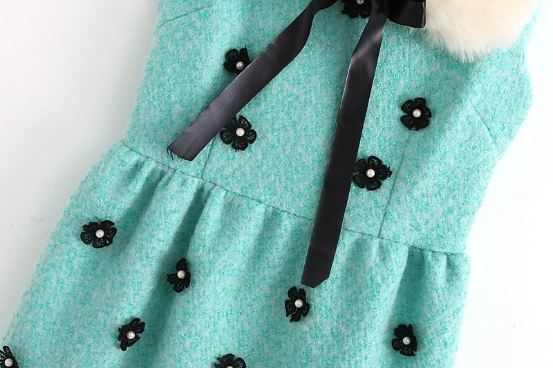 Green Faux Fur Collar Sleeveless Applique Dress - Sheinside.com