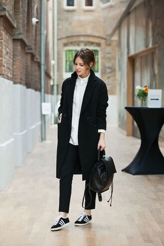 shoes white shirt black coat black bag adidas shoes blogger