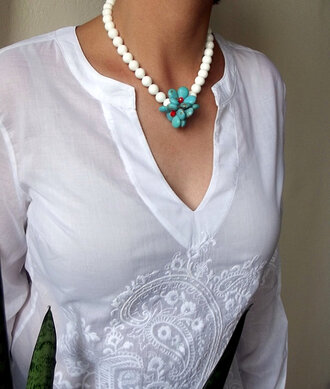 white jewels jewelry womens accessories women gift ideas turquoise gift ideas shell necklace acsessories neckalce handmade necklace