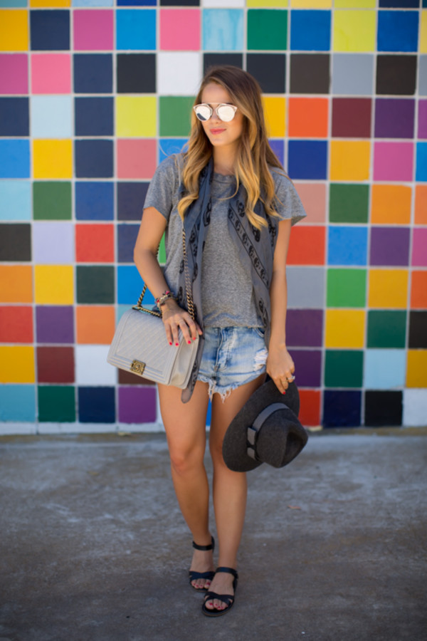 gal meets glam blogger t-shirt scarf shoes sunglasses bag jewels printed scarf felt hat summer outfits dior sunglasses