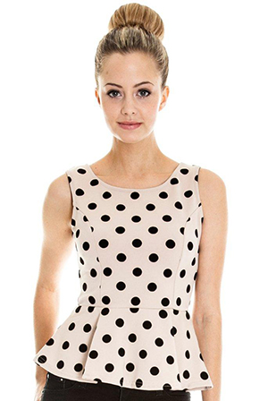 Flock Spotted Peplum Top