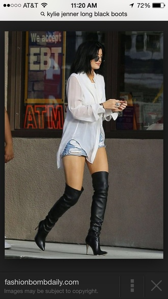 shoes boots knee high boots thigh high boots black black leather leather kylie jenner long long boots blouse