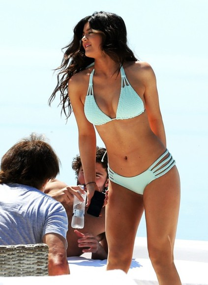 kylie jenner swimwear bikini holiday light blue
