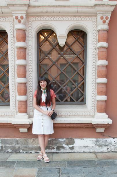 kelsey bang blogger sunglasses scarf blouse skirt shoes make-up