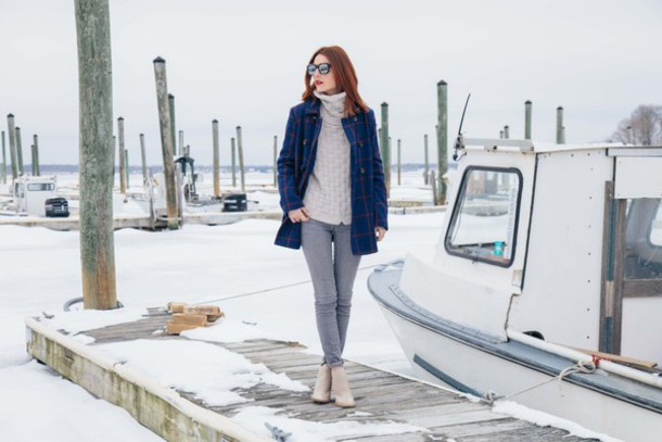 prosecco and plaid blogger blue coat grey jeans knitted sweater